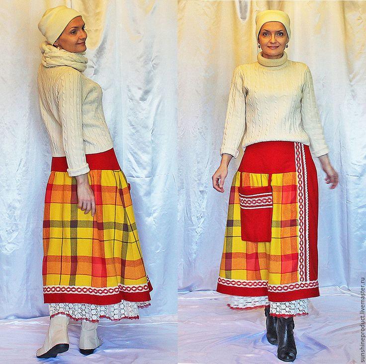 """Купить Шерстяная юбка """"Зимнее Этно"""" - комбинированный, в клеточку, юбка, юбка макси, зима 2016"""