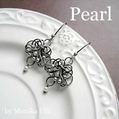 kolczyki - wire wrapping i metaloplastyka-Romantic Pearl