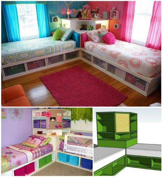 This is so cool. One side could be a couch or sitting area if you just have one beeboo. Then double as a sleepover area. Kids Twin Bed Storage Tutorial