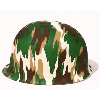6 x Kids Size Unique Army Camouflage Military Camo Plastic Party Helmet Hat