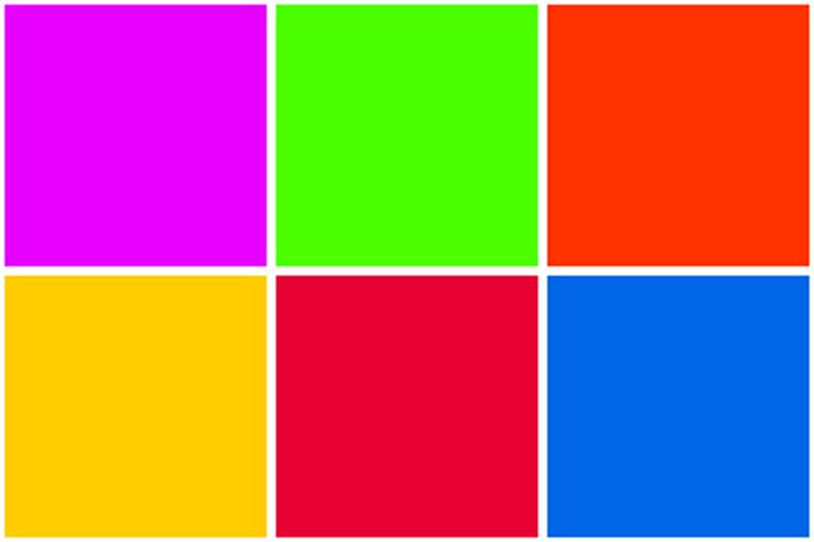 colori pieni molto vivaci e molto in contrasto tra loro, ispirazione sud america e anni '80