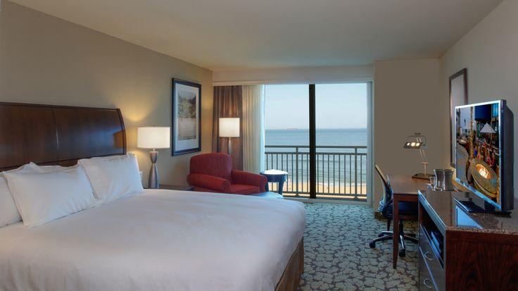 Oceanfront King Guest Room at the Hilton Garden Inn Virginia Beach Oceanfront.