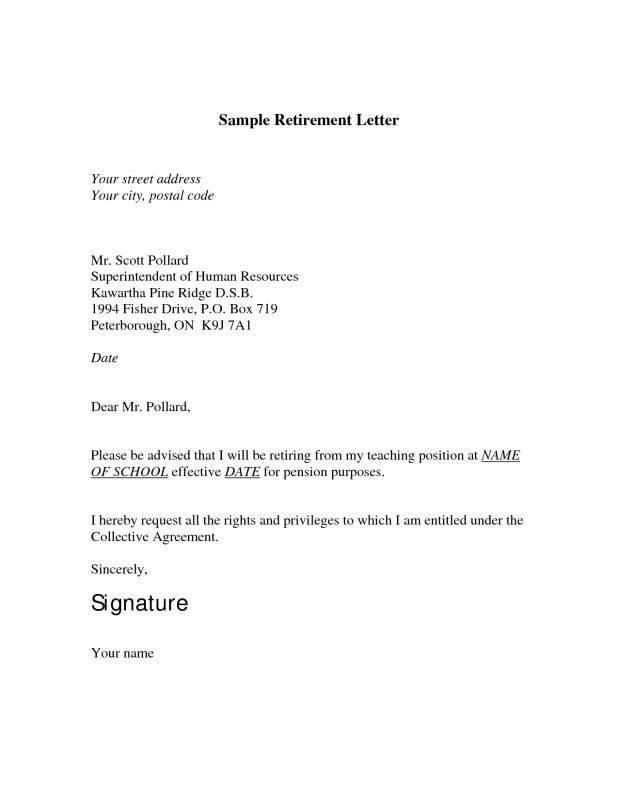 Sample Retirement Letter | template | Resignation letter format