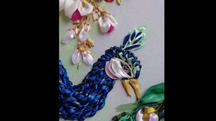 Peacocks in garden, ribbon embroidery