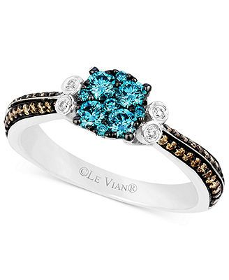 Le Vian 14k White Gold Blue and Chocolate Diamond (5/8 ct. t.w.) and Diamond Accent Ring