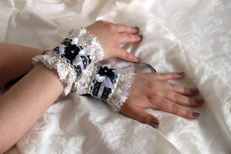 Black-white-gold gothic lolita wrist cuffs / bracelets / wrist wraps by AlicesLittleRabbit on Etsy