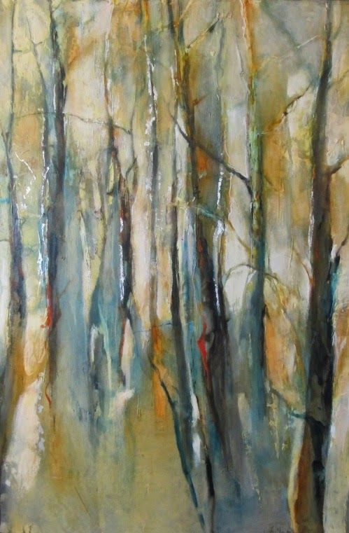 "Daily Painters Abstract Gallery: Contemporary Abstract Aspen Tree Landscape Painting ""Walking Into Forever"" by Intuitive Artist Joan Fullerton"