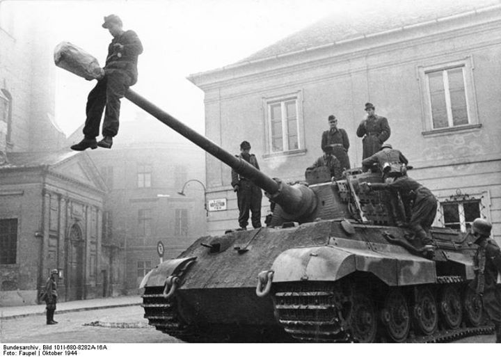 German and Hungarian soldiers on a Tiger II tank Budapest Hungary October 1944. Photo: Bundesarchiv Bild 101I-680-8282A-16A Faupel.