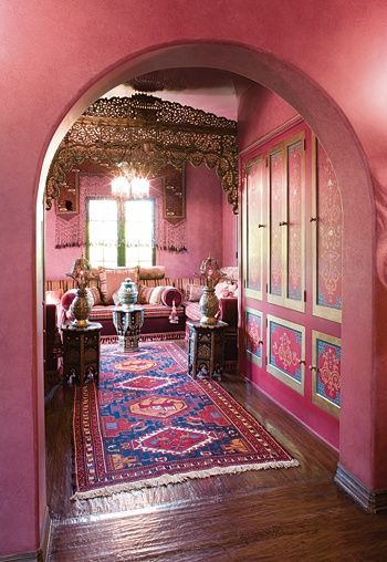Bohemian inspired home design with pink and purple paint color scheme