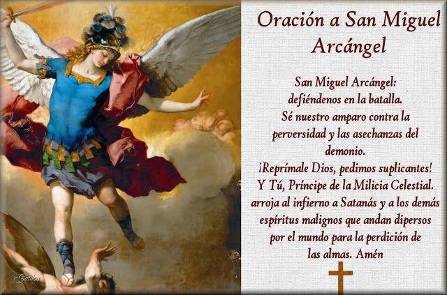 Santoral Catolico Estampa Con Oracion A San Miguel Arcangel