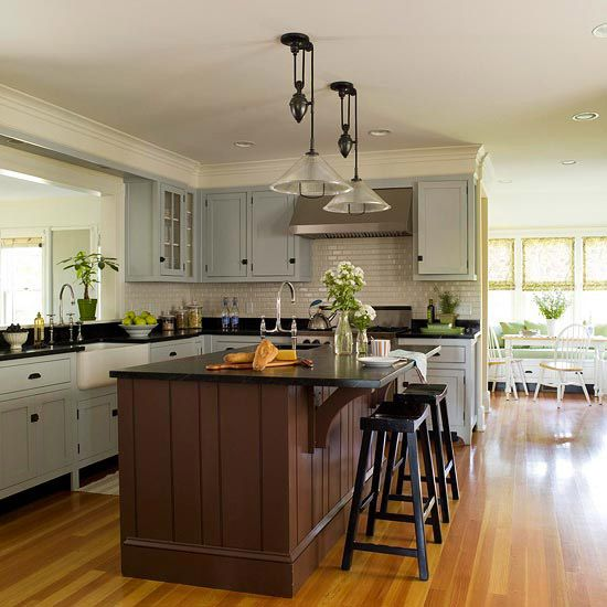blue gray, chocolate, and black colorsDreams Kitchens, Cabinets Colors, Open Spaces, Interiors Design, Blue Gray, Colors Schemes Black Gray, Islands, Farmhouse Kitchens, Kitchens Colors Schemes