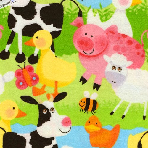 Farm Animal Flannel Fabric Cows Pigs Sheep Ducks Yard