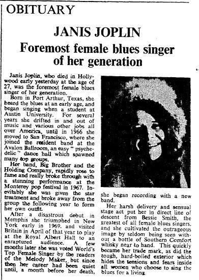 Twitter / TimesMusic: #Onthisday in 1970, Janis Joplin ...