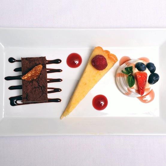 Trio of Desserts - Chocolate Brownie with Hazelnut Brittle, Lemon & Lime Tart and Pavlova Topped with Summer Berries - Lemon Zest Cuisine www.lemon-zest.co.uk