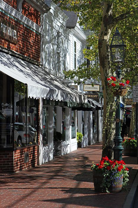 Shops along Main Street In Edgartown, Martha's Vineyard, Massachusetts