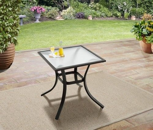Patio Side Table Metal Grarden Furniture Out In Door Modern Espresso Small Top   #PatioSideTable