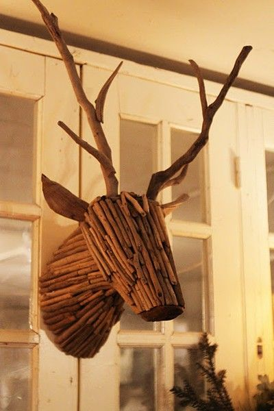 This Twig Deer Head is awesome in so many ways! And the website has a dozen great ideas using wood.