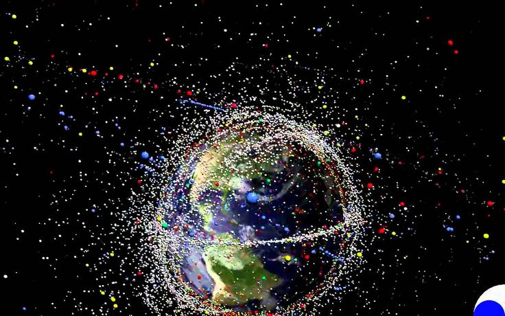 20000 Days in Space Simulation of Space Debris orbiting Earth. Created by the Institute of Aerospace Systems of the Technische Universität Braunschweig Color Key: Red: Satellites (operational or defunct) Yellow: Rocket bodies Green: Mission Related Objects (bolts, lens caps, etc.) Blue: Solid rocket motor slag White: Fragments from explosion events