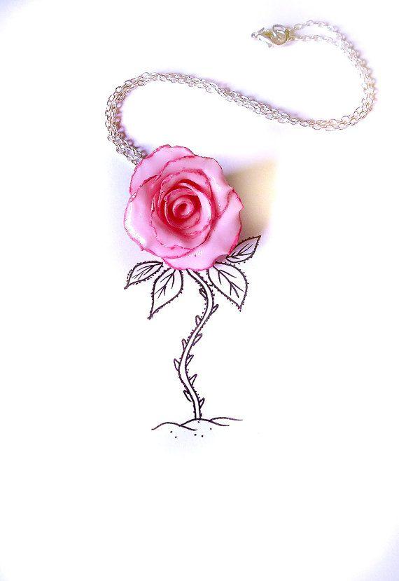 Collana rosa in porcellana realizzata interamente a mano e dipinta a mano, regalo festa della mamma, donna, fidanzata, sorella