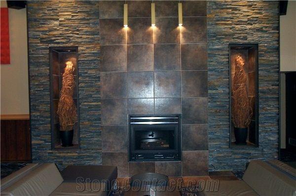 stone facade fireplace Google Search