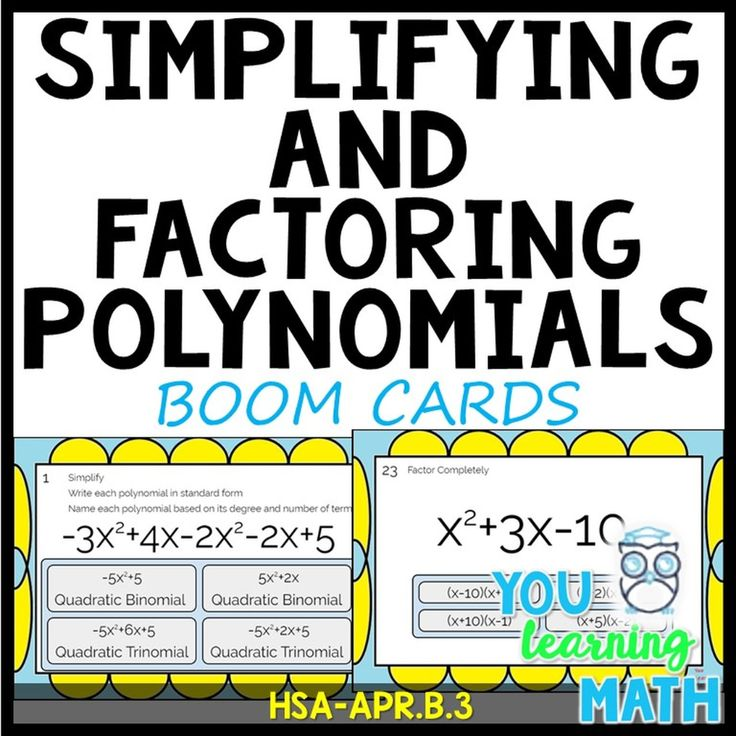 Simplifying and factoring polynomials digital boom cards