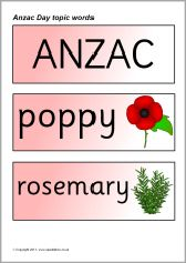 Anzac Day topic word cards (SB4530) - SparkleBox