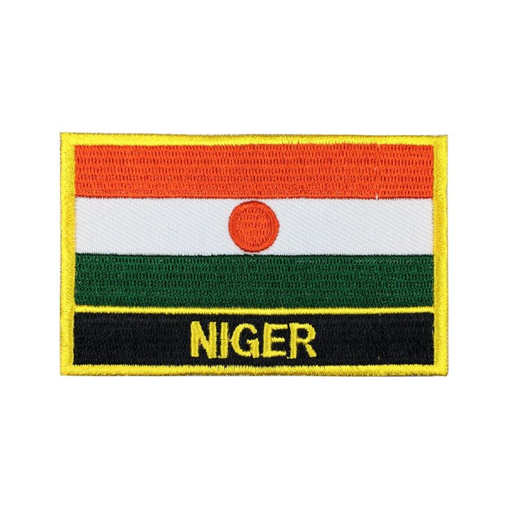 Niger Flag Patch Embroidered Patch Gold Border Iron On patch Sew on Patch Bag Patch meet you on www.Fleckenworld.com