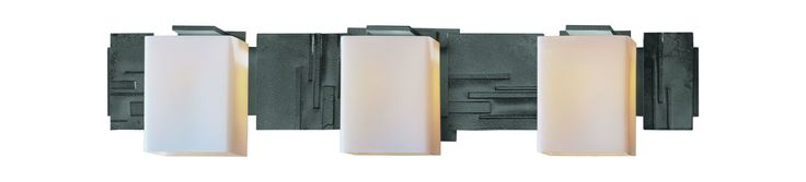 Hubbardton Forge 207843 3 Light Down Lighting Wall Sconce from the Impressions C Burnished Steel Indoor Lighting Wall Sconces Wall Sconces