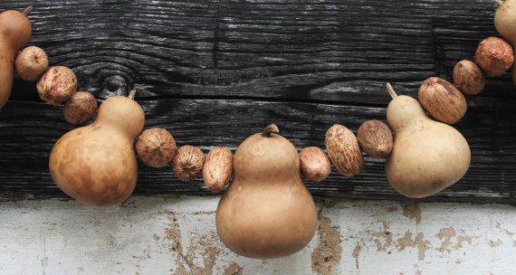 Primitive GOURD & NUT Garland - Colonial Colonial Country Decor Cottage Fall Autumn