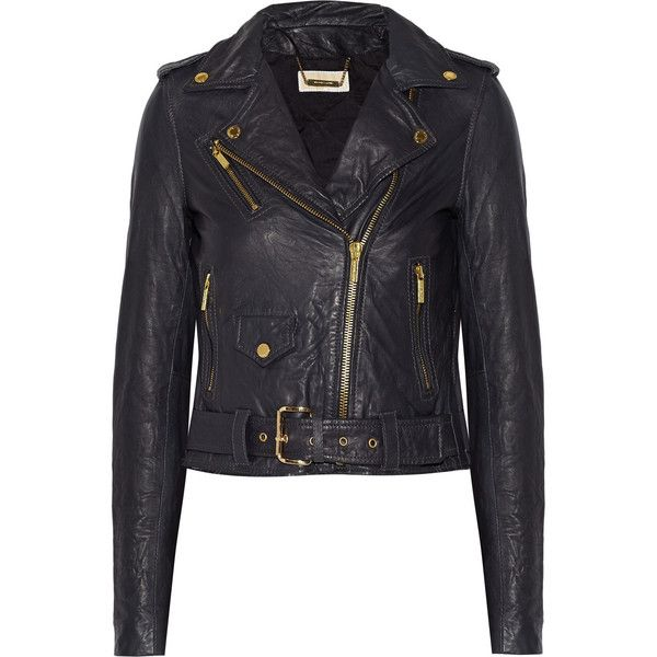 MICHAEL Michael Kors Leather biker jacket ($198) ❤ liked on Polyvore featuring outerwear, jackets, navy, leather moto jackets, leather jackets, slim fit leather jacket, genuine leather jackets and slim motorcycle jacket