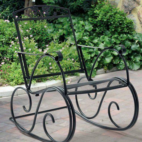 Porch-Rocking-Chair-Black-Outdoor-Patio-Rocker-Deck-Seat-Wrought-Iron-Furniture