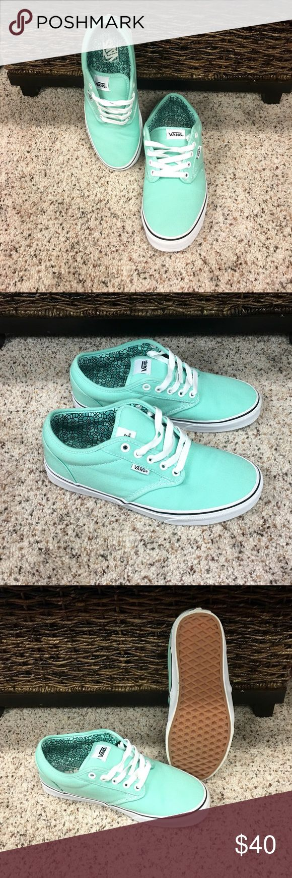 Mint Green Vans Like New Mint Green Vans! Worn Once! In Near Perfect Condition! Vans Shoes Sneakers