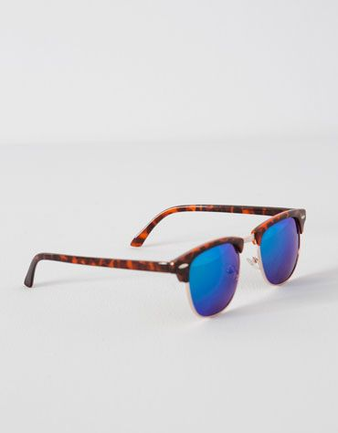 Bershka Polska - Metalowe okulary przeciwsłoneczne z lusterkowymi szkłami