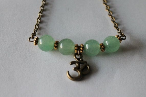 Om necklace on green aventurine stone beads by SuryaSoul on Etsy, €23.00/$30.00