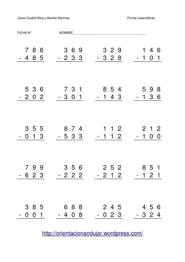 restas de numeros de tres cifras sin llevada