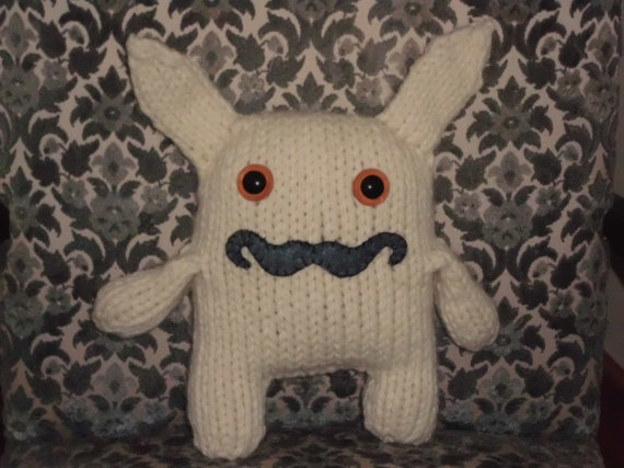 Giant White Rabbit (w/Moustache) Hand Knit Toy: Hands Knits, Rabbit W Moustache, Crochet Toys, Knits Yeah, White Rabbits, Giant Rabbit, Rabbit Wmoustach, Knits Toys, Giant White