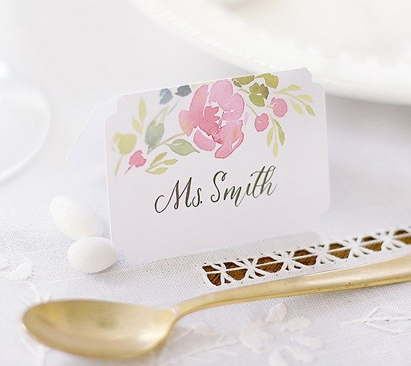 Create Your Own Wedding Place Cards With Beautiful Die Cut Edges And A Fresh Floral Watercolor