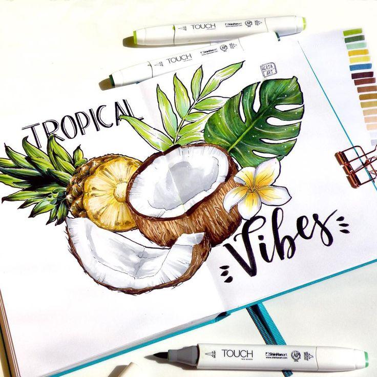?Tropical vibes??? ————————— ?Вжух! И июнь подходит к концу. Надеюсь, вы были более продуктивны в первый месяц лета, чем я? #by4erta #art_markers #topcreator #botanical #touchmarkers #leuchtturm1917 #tropical #vibes