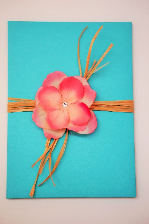 Tropical turquoise and Pink Wedding Invitation Set with real raffia closure ties