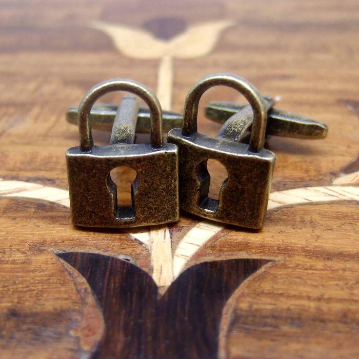antique bronze padlock cufflinks
