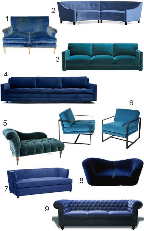 Get the Look: 34 Blue Velvet Sofas     style carrot   #interiordesign