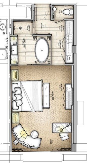 Master room with private bathroom and dressing