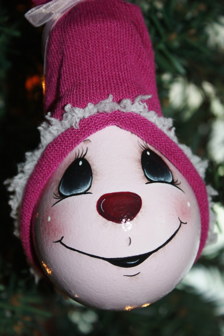 "Hand Painted ""Perfectly Pink"" Light Bulb Ornament. $11.00, via Etsy."