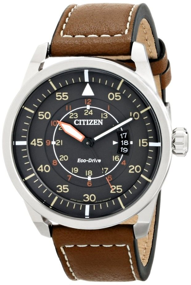 """Citizen men watches : Citizen Men's AW1361-10H """"Sport"""" Stainless Steel Watch with Brown Leather Band"""