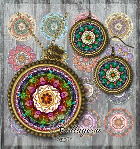 Mandalas, Kaleidoscopes, Digital Collage Sheet, 20, 18, 16, 14, 12 mm circles, printable images for earings, rings, jewelry making  by collageva