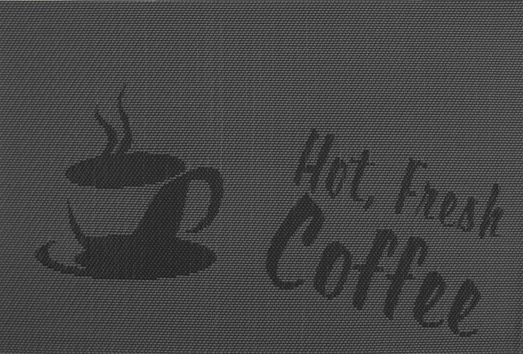 Obdélníkové prostírání na stůl černé barvy s motivem šálku kávy