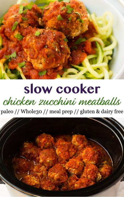 A meal prep staple, only 8 ingredients, and with hidden veggies in them, these Whole30 approved Slow Cooker Chicken Zucchini Meatballs make the easiest healthy dinner option without the fuss! Made in the crockpot and paleo, gluten, dairy free! - Eat the Gains #paleo #glutenfree #whole30 #mealprep