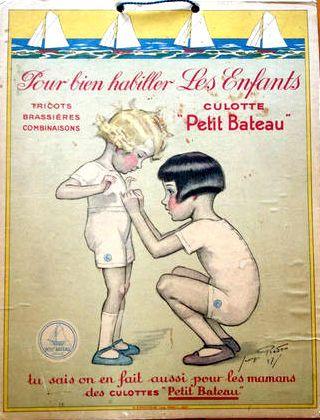 Panneau Publicitaire. Georges Redon pour Petit Bateau. H.CHACHOIN Imp. PARIS - 1927.