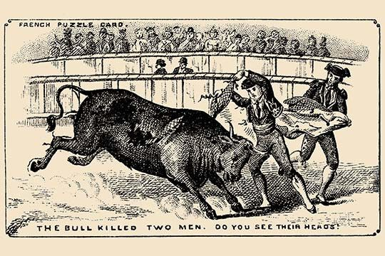 The Bull Killed Two Men. Do you see their heads?