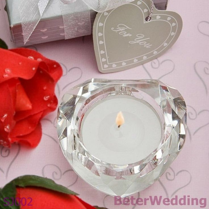 crystal collection heart candle wedding favors add bling to your tablescape